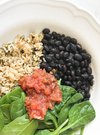 Instant Pot black beans, cilantro lime rice, baby spinach and salsa salad