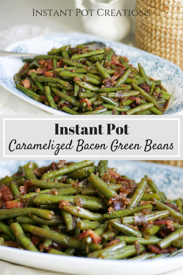 Instant Pot Bacon Green Beans on blue plate
