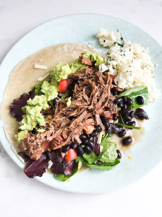 Instant Pot Pulled Pork Black Bean burrito