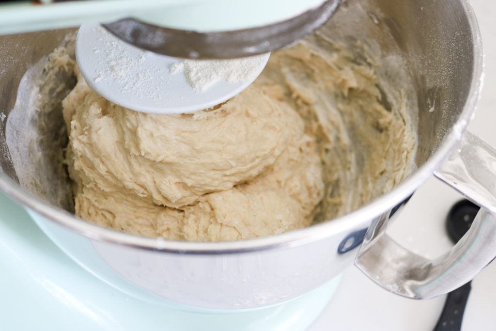 dinner roll dough in a kitchenaid mixer