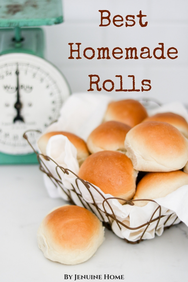 homemade rolls in a wire basket with vintage scale in the background with text overlay