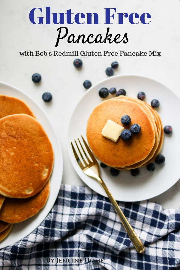 Gluten Free Pancakes from Bob's Redmill pancake mix with blueberries and butter on top with fork and napkin with text overlay
