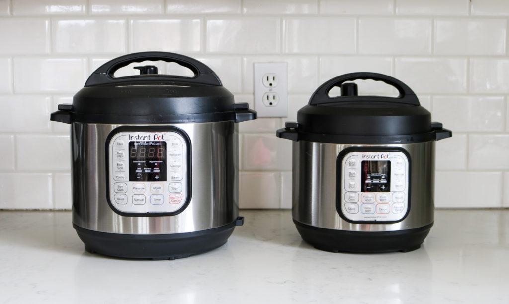 Instant Pot qt and Instant Pot Mini 3qt in a white kitchen