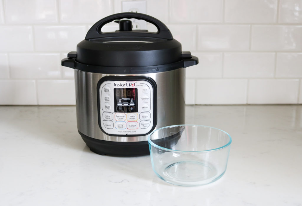 Instant Pot Mini 3qt with glass bowl on counter