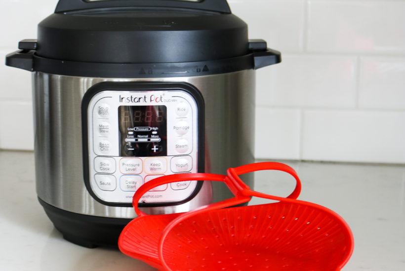 Instant Pot Mini 3QT with silicone steamer basket accessory
