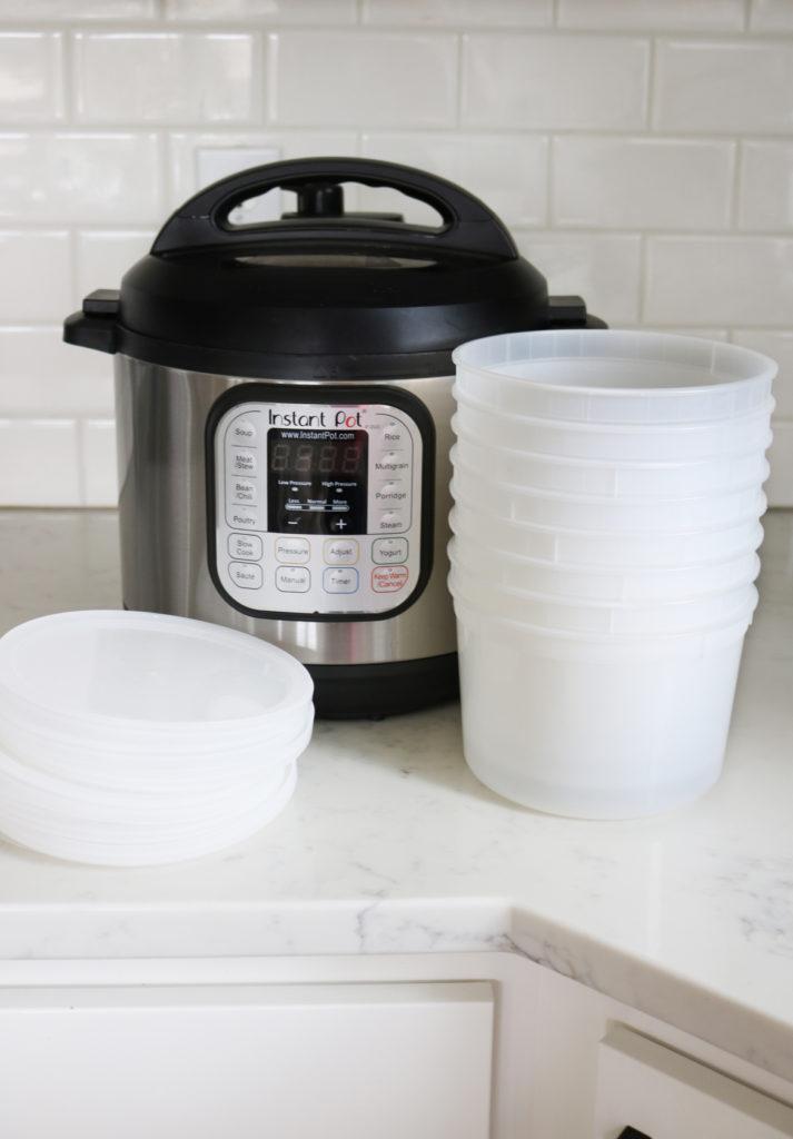 Instant Pot Mini 3QT with freezer storage containers