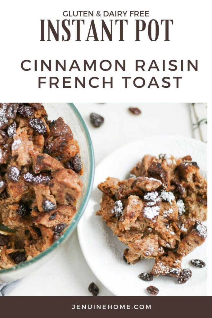 Instant Pot Gluten Free French Toast on white plate with text overlay