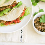 Instant Pot Lentil Tacos on a white plate