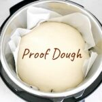 Dough proofing in Instant Pot with text overlay