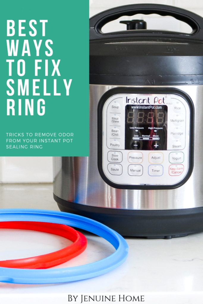 instant pot with sealing rings with text overlay