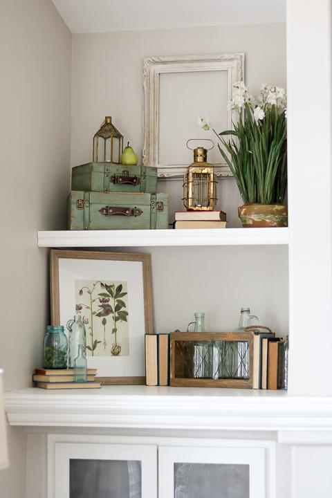 Spring decor styling on built-in shelves