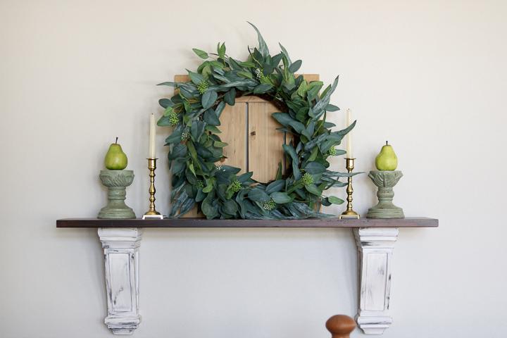 Wreath on mantel shelf
