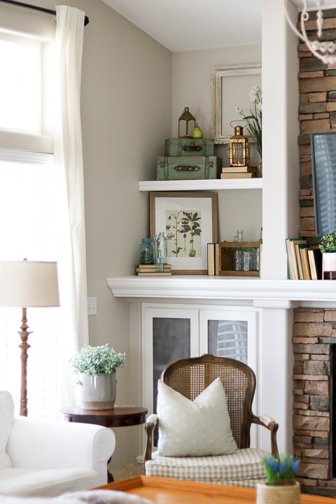 French country decor on built-in shelving