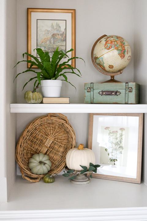 Fall decor on built-in shelving
