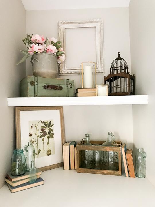 Spring decor on shelves