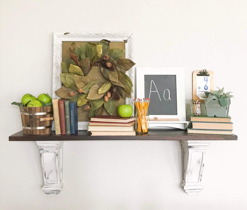School style mantel shelf