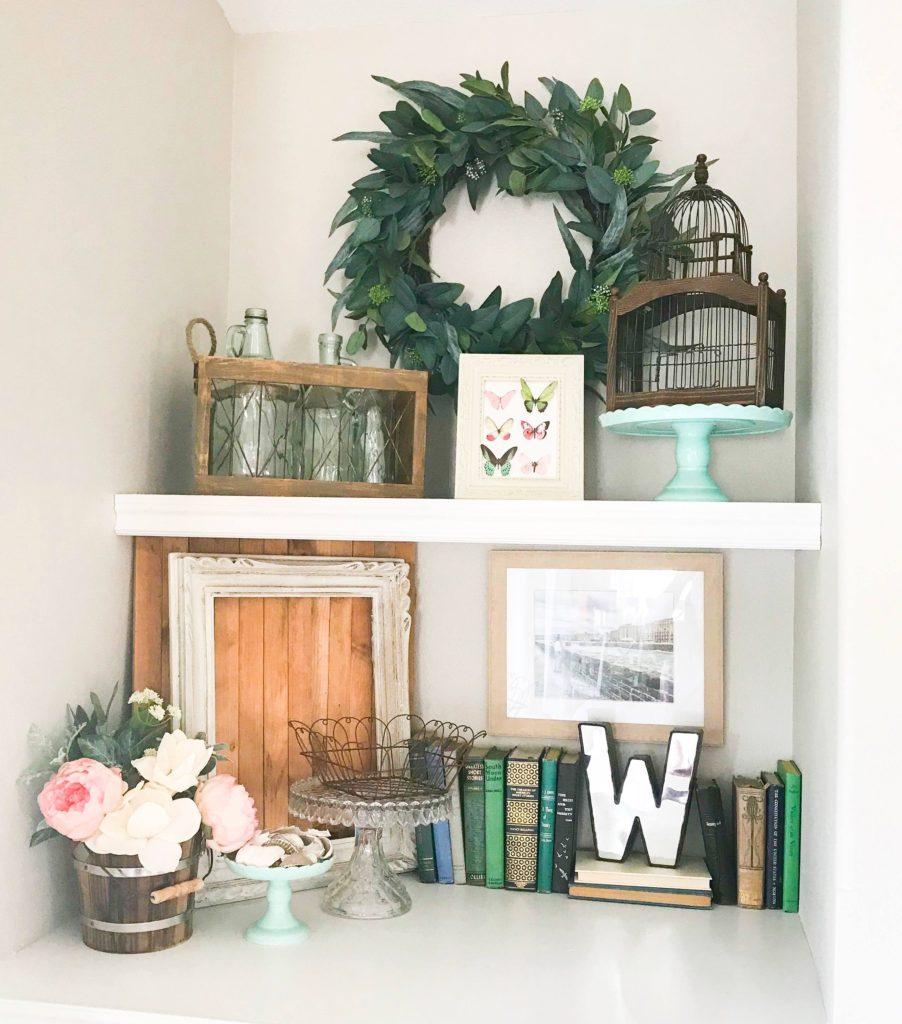 Spring decor on built-in shelving