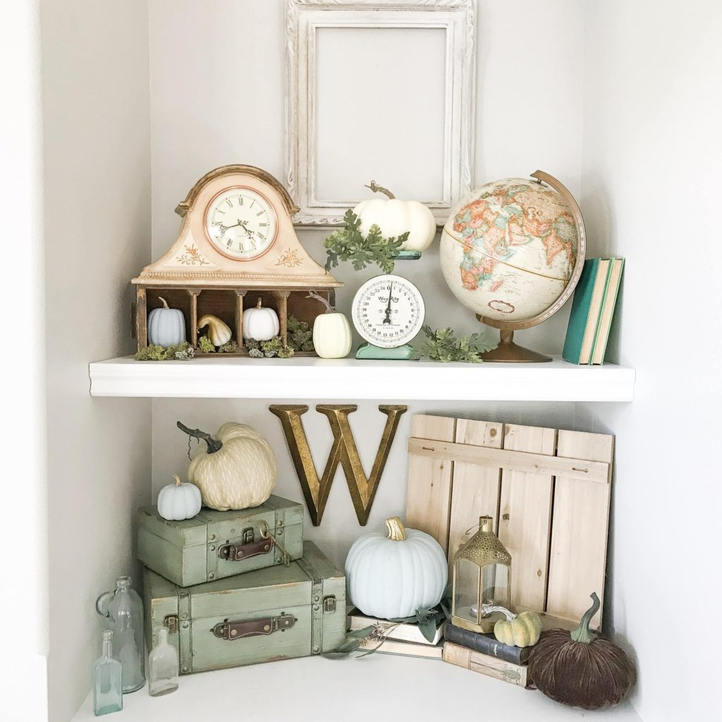 Built-in shelves with autumn decor