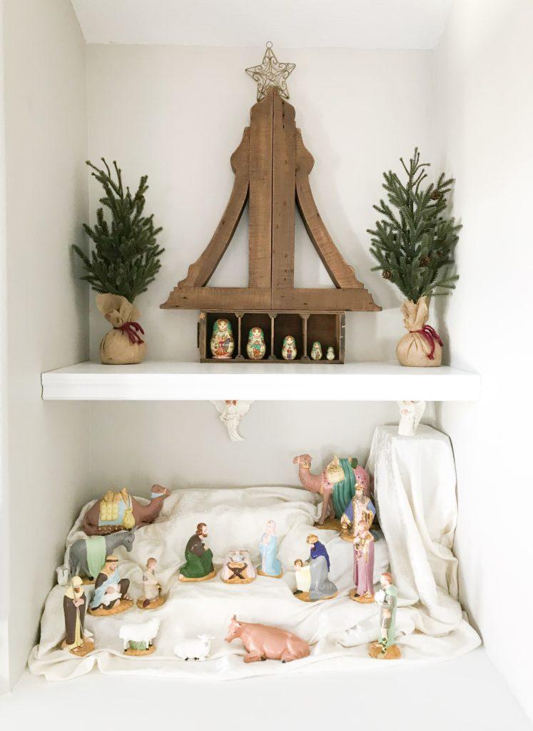 Christmas decor on shelves