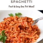 Instant Pot Spaghetti with text overlay