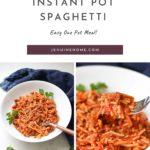 Spaghetti with text overlay