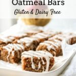 applesauce oatmeal bars gluten and dairy free with glaze on top