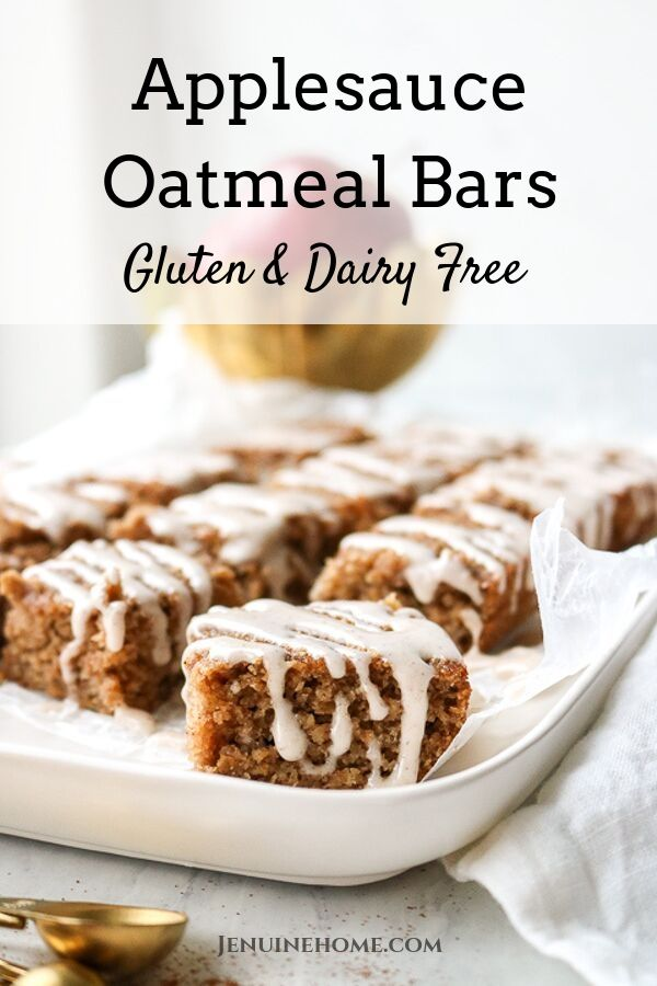 gluten free applesauce oatmeal bars with dairy free with glaze on top