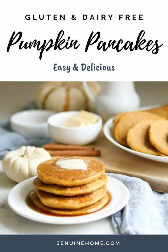 Easy Gluten free dairy free pumpkin pancakes with text overlay