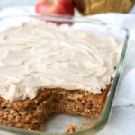 Applesauce in a cake pan with frosting