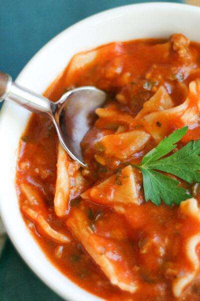 Instant Pot Lasagna Soup with a spoon