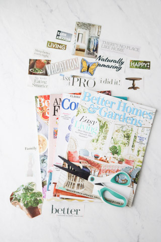 Stack of vision board magazines