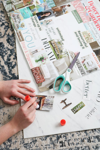 Gluing images onto vision board