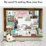 Vision board on wall with text overlay
