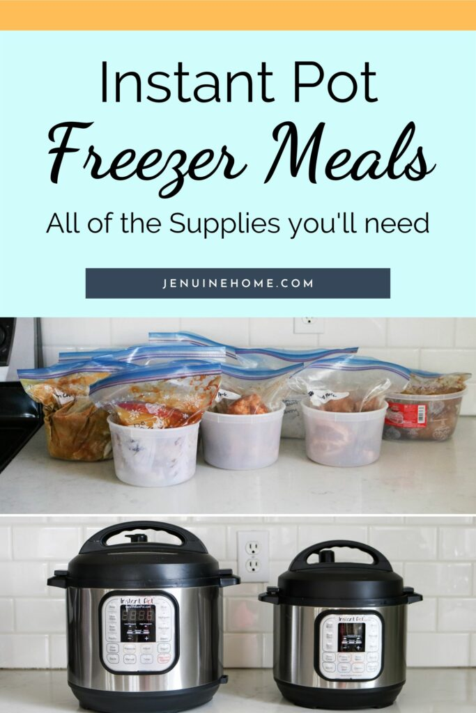 Freezer meals with Instant Pot and text overlay