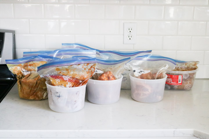 Instant Pot freezer meals inside containers on counter