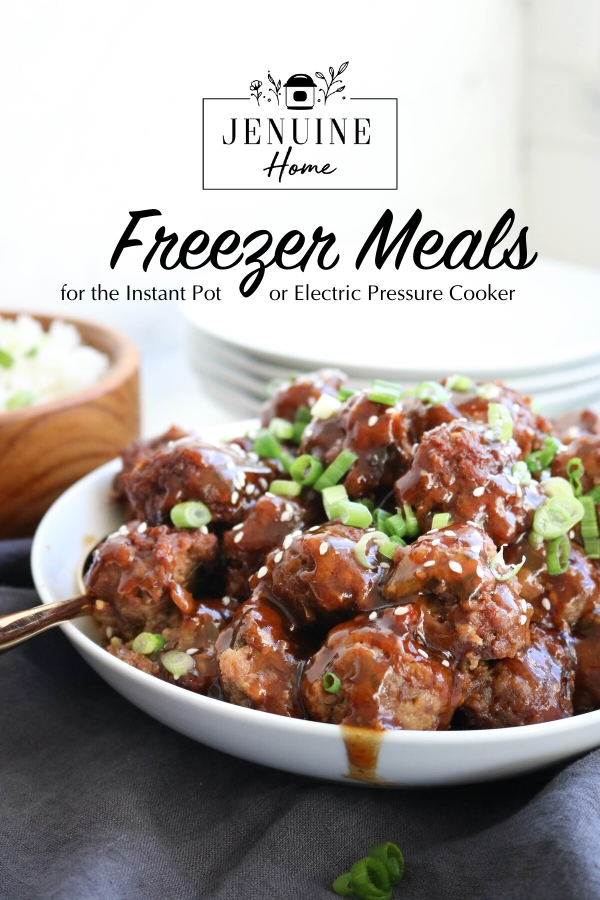 Freezer Asian meatballs with text overlay