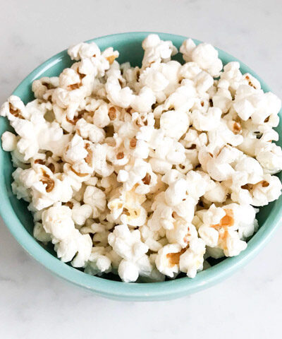 Popcorn in a blue bowl