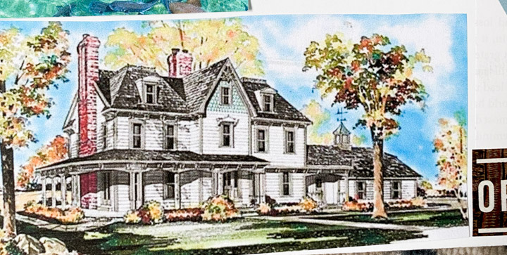 White farmhouse drawing