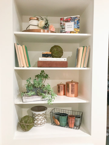 shelf styling decor