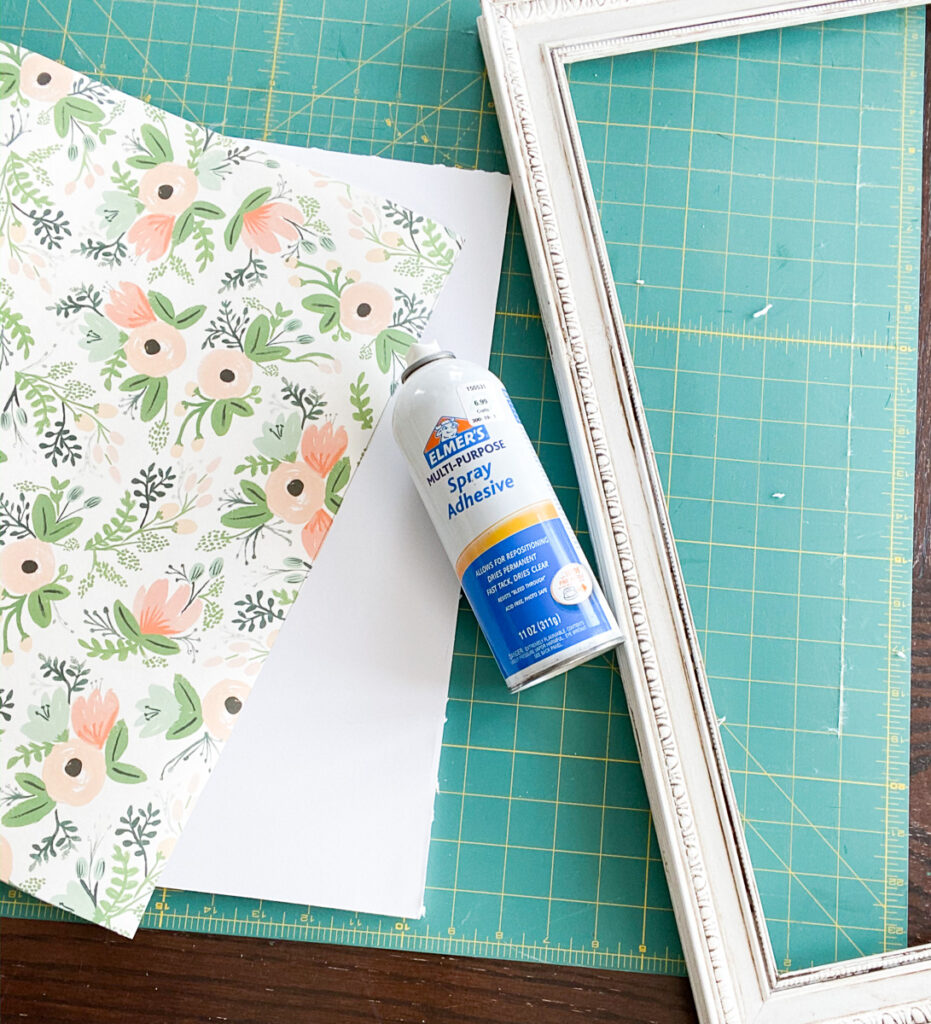Wrapping paper, frame and spray adhesive glue