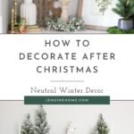 Winter decor for shelves with text overlay