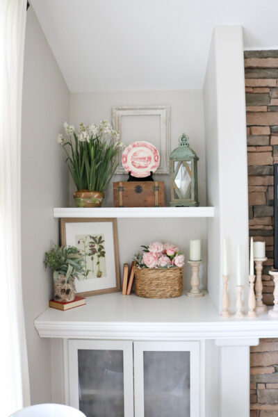 Pink french country decor on shelf