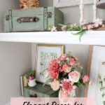 Home decor with floral prints on shelves