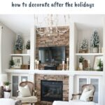 Winter decor in living room with text overlay