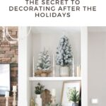 Living room with built-in shelving winter decor