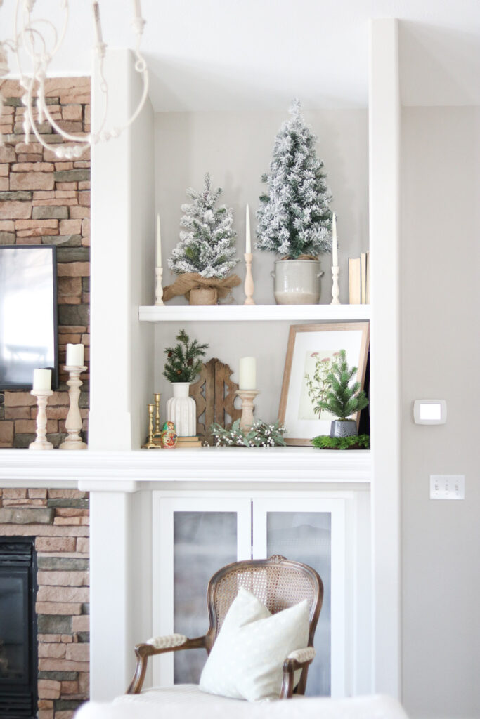 Built-in shelving with winter décor