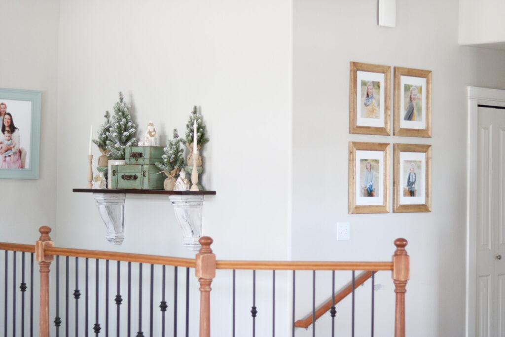 Winter decor on mantel shelf