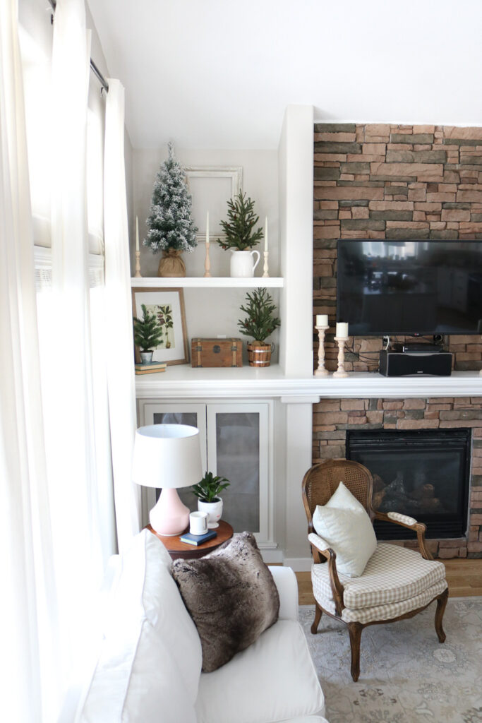 Living room with built-in shelving