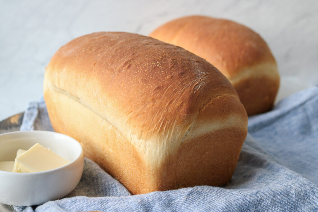 White homemade bread loaves