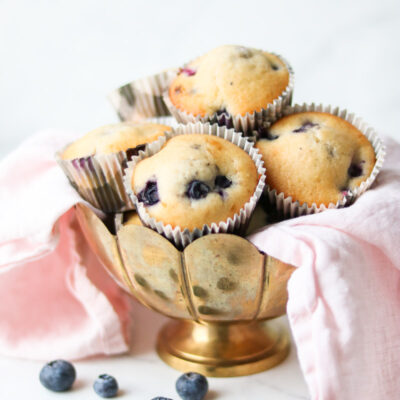 Blueberry muffins in a gold bowl